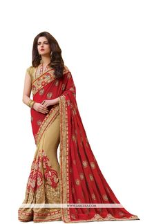 This season your look gets better definition with just a little attention to detail. Keep ahead in fashion with this red georgette classic designer saree. The patch border and embroidered work looks c...
