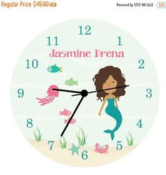 Mermaid curly haired girl - Kids Wall Clock, Children Room Decor Mermaid WALL CLOCK for Girls Bedroom  Nursery Wall Clock, A perfect added touch to your child's room or beautiful addition to the play room. Cute, fun and colorful designed Wall Clock for your kids room or a unique gift for any lucky! A very uniquely gift at an affordable price. This colorful Wall Clock made from my original art works designed to coordinate with the very popular Ocean Sea Life Growth Chart.  Measurements…