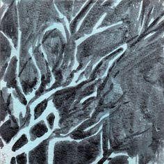 Gray/Blue 3 - Anaïs Van Goethem - Ink on gessoed board - 15 x 15 cm - 2015