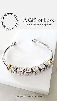 Gifts for your anniversary to show her she is loved and inspiring. #giftsforher Personalized Anniversary Gifts, Personalized Gifts For Mom, Personalized Bridesmaid Gifts, Personalized Charms, Jewelry For Her, Dainty Jewelry, Gifts For Wife, Gifts For Her, Bangle Bracelets