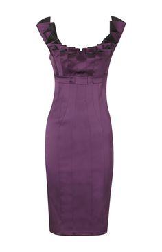 Karen Millen Folded Satin Pencil Dress Purple ,fashion  Karen Millen Solid Color Dresses outlet