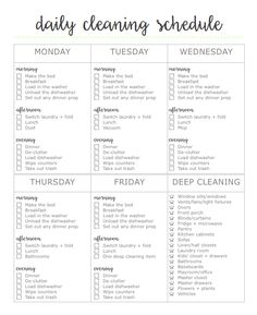 Free 2-page cleaning printable. First page is a daily cleaning schedule, second page is a declutter + detox cleaning checklist!