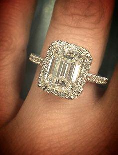 Custom emerald cut diamond engagement ring #ihatestevensinger