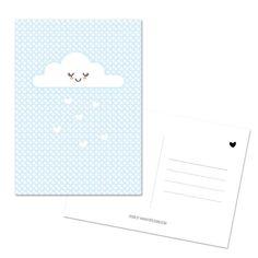 Kaart Wolkje blauw Heerlijk zoet kaartje in zacht blauw met een wolkje! ansichtkaart kinderkaart geboorte decoratie babykamer kinderkamer wolken