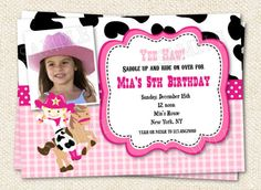 Cowgirl  Birthday Party Invitations. $12.00, via Etsy.