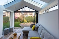This beautiful Ultraroof house extension features full length glass panels in the roof and stunning bi-fold doors that lead out into the garden. House Extension Plans, House Extension Design, Extension Designs, House Design, Extension Ideas, Glass Roof Extension, 1930s House Extension, Cottage Extension, Loft Design