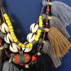 Ariel Clute Tassel Necklace layered with Vintage Beads at Metier