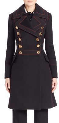 Burberry Wool Double-Stitch Military Coat