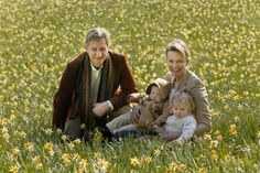 royalbabies:  Then Crown Prince Philippe and Crown Princess Mathile (now King and Queen) with their eldest children Prince Gabriel and Princess Elisabeth
