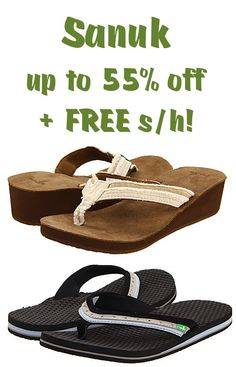 Sanuk: up to 55% off + FREE Shipping! {snatch up a deal on cute sandals for summer!} #flipflops #sandals