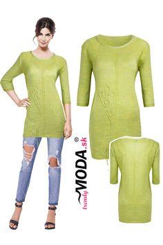 Elegantný dámsky jablkovo-zelený pulóver predĺženého strihu, vo veľkostiach i pre moletky. Modeling, Tunic Tops, Sweaters, Dresses, Women, Fashion, Vestidos, Moda, Modeling Photography