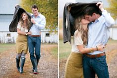 rainboots and kisses in the rain...perfect engagement shoot