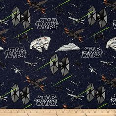 Star Wars The Force Awakens Ships Multi from @fabricdotcom  Designed by Star Wars & Lucasfilm and licensed to Camelot Fabrics, this cotton print is perfect for quilting, apparel and home decor accents.  Colors include white, grey, rust, lime green, and red on a navy blue background.