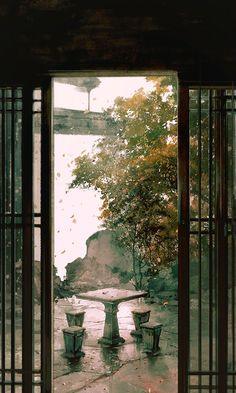 Tiểu viện Landscape Pictures, Landscape Art, Landscape Paintings, Chinese Architecture, China Art, Anime Scenery, Art Background, Japanese Art, All Art