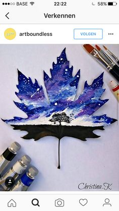 Pin na Paint Leaf Gouache Painting, Painting & Drawing, Leaf Drawing, Spiritus, Art Anime, Painted Leaves, Leaf Art, Cool Drawings, Unique Art