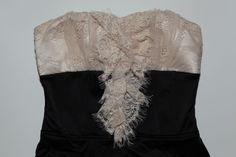 BEBE SZ S NUDE BLACK SATIN LIKE EYELET LACE STRAPLESS SEXY MINI ZIPPERED DRESS   | eBay