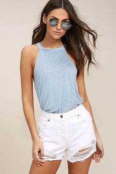 #AdoreWe #Lulus Womens❤️Designer Cheers to the Weekend Light Blue Striped Tank  Top