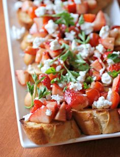 Strawberry Tomato Bruschetta Ingredients  1    french bagette  3/4    cup    strawberries ( diced )  3/4    cup    cherry tomatoes ( chopped )  2    tablespoons    parsley ( italian leaf )  2    tablespoons    olive oil ( plus extra for drizzling )  1    tablespoon    balsamic vinegar     to taste    salt  2    tablespoons    goat cheese