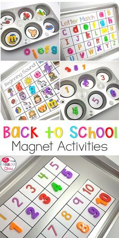Back to School Activities with Magnets. Back to School Kindergarten. Back to School PreSchool. Back to School Word Work. Letter Activities, Back To School Activities, Preschool Learning Activities, Preschool Classroom, Classroom Games, Back To School For Preschoolers, School Ideas, School School, School Style