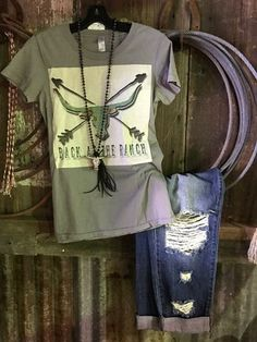 Back At The Ranch Patch Tee COLOR; Smoked Gray SIZE; S 2-4, M 6-8, L 10-12, XL 14-16