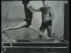 Video of Joseph Pilates teaching a reformer class. Although I am eternally grateful for his work, I must admit that watching this video makes me grateful for the pilates elders who have adapted the work along with further studies and body knowledge Pilates Videos, Pilates Moves, Pilates Body, Pilates Training, Pilates Reformer, Pilates Workout, Pilates Mat, Workouts, Joseph Pilates