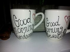 Hand painted mugs from my sister