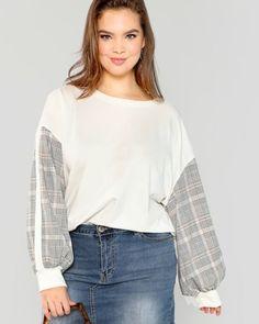 c7aefc7504d Plus Drop Shoulder Plaid Panel Sweatshirt price 590 LE Material 61.1%  Polyester 32.9% Cotton 6% Spandex Size   0XL 1XL 2XL 3XL Code  FSH207 ...