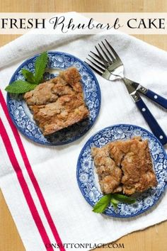 Old Fashioned Fresh Rhubarb Cake | Tried and true recipe that makes a cake big enough to feed a crowd. An easy crumble topping replaces frosting and adds the perfect finishing touch!