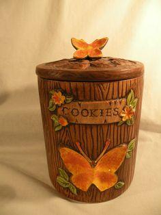 Vintage Treasure Craft Cookie Jar Tree Trunk Wood Look Orange Butterfly Ceramic   eBay
