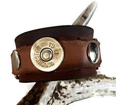 Genuine Leather Cuff with Shotgun Shell, Personalized Leather Cuff for Men, Leather Cuff, Christmas Present For Him, Christmas Gift by ChatterByHammer on Etsy