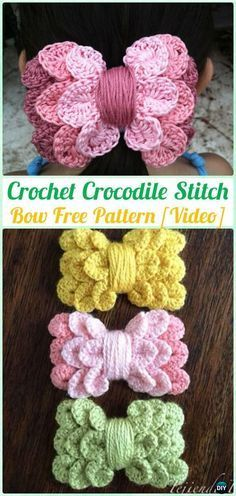 Crochet Crocodile Stitch Bow Free Pattern [Video]-What a sweet idea!!