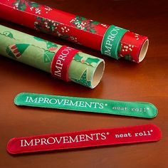 Improvements Neat Roll Wrapping Paper Holders-neat idea! Got slap bracelets? Maybe it will be the same thing?