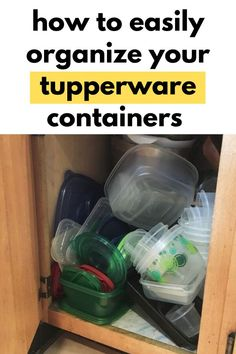 If you are tired of your messy storage containers constantly falling or missing, you'll love these easy and cheap storage hacks. These quick tupperware organization tips will make your life so much easier. Cheap Storage, Storage Hacks, Diy Storage, Storage Solutions, Storage Ideas, Organization Hacks, Organizing Tips, Organising, Tupperware Organizing
