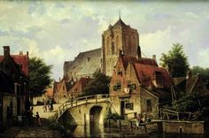 Une ville néerlandaise avec une église de Willem Koekkoek (1839-1895, Netherlands)