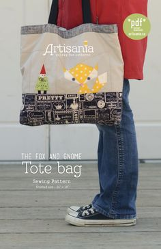Adorable fox and gnome tote pattern