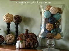 Neutral fall decor with blue accents