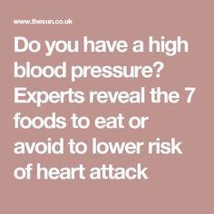 Do you have a high blood pressure? Experts reveal the 7 foods to eat or avoid to lower risk of heart attack Blood Pressure Numbers, High Blood Pressure, Foods To Eat, Heart Attack, Monitor, Menu, Chart, Age, Healthy