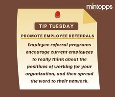 Promote Employee Referrals Employee referral programs encourage current employees to really think about the positives of working for your organization, and then spread the word to their network. Digital Marketing Services, Email Marketing, Recruitment Services, Organizations, Work On Yourself, Promotion, Encouragement, Positivity, Words