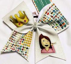 Bows by April - Glitter Emoji Princess Mix-Up Cheer Bow, $17.00 (http://www.bowsbyapril.com/glitter-emoji-princess-mix-up-cheer-bow/)
