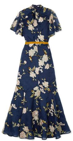Erdem Celeste Ruffled Embroidered Silk-organza Gown In Navy Business Casual Dresses, Casual Dresses For Women, Dress Casual, Modest Fashion, Fashion Outfits, Women's Fashion, Dress Flower, Event Dresses, Floral Dresses