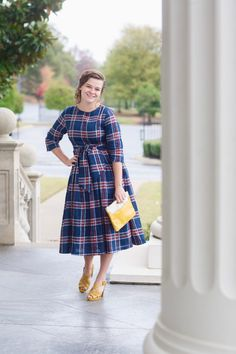 Modest Fashion | Modest Bridesmaid Dresses | Navy Plaid Highlands Dress by Dainty Jewell's Modest Apparel