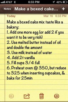 Photo: Make a boxed cake mix taste like a bakery cake. This is the cheat that I use for my cakes. Categories: Food And Drink Added: Description: Make a boxed cake mix taste like a bakery cake. This is the cheat that I use for my cakes. Just Desserts, Dessert Recipes, French Desserts, Boxed Cake Recipes, Recipes Using Cake Mix, Dinner Recipes, French Food, Health Desserts, Cupcake Recipes