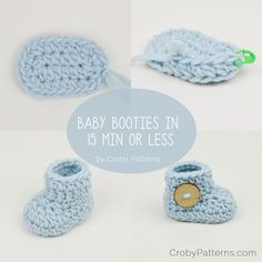 Crochet baby booties in 15 minutes or less! by Croby Patterns