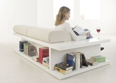 Couch with bookshelf back that also folds out into a bed. Doesn't have a US supplier, but would be easy to DIY