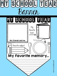 The My School Year Banner is a great activity for students to do the last week of school! Banners can be hung around the classroom when completed. Included in this download:*Cover sheet*Instructions/Credits*Banner worksheetPlease feel free to check out my store for other workstation/center activities!Thanks a bunch,Aimeewww.pencilsbooksanddirtylooks.com