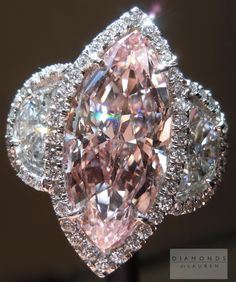 Pink Diamond Ring: 3.09ct Fancy Pink VS2 Marquise Diamond