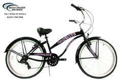 "Iris Women's Black with 26"" Pink Wheels 7 Speed Shimano Tourney Beach Cruiser Bike GreenLine Cruiser,http://www.amazon.com/dp/B00I5481TU/ref=cm_sw_r_pi_dp_d50mtb06ATXK5FYT"