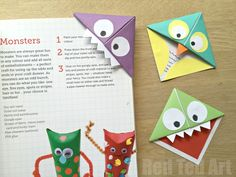 Easy Origami Corner Bookmark How To - turn them into Monsters, Owls and wherever your imagination takes you. A great little gift for book lovers on Father's Day - Red Ted Art's Blog