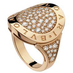 18kt Rose Gold Ring  With The Bvlgari-Bvlgari Double Logo & Pavé Diamonds http://www.liljenquistbeckstead.com/Jewelry/bulgari