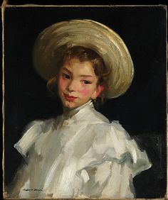 Dutch Girl in White - Robert Henri (American Ashcan School Painter, In my opinion, his best American Realism, American Artists, Norman Rockwell, L'art Du Portrait, Portraits, Rembrandt, William Glackens, Robert Henri, Ashcan School